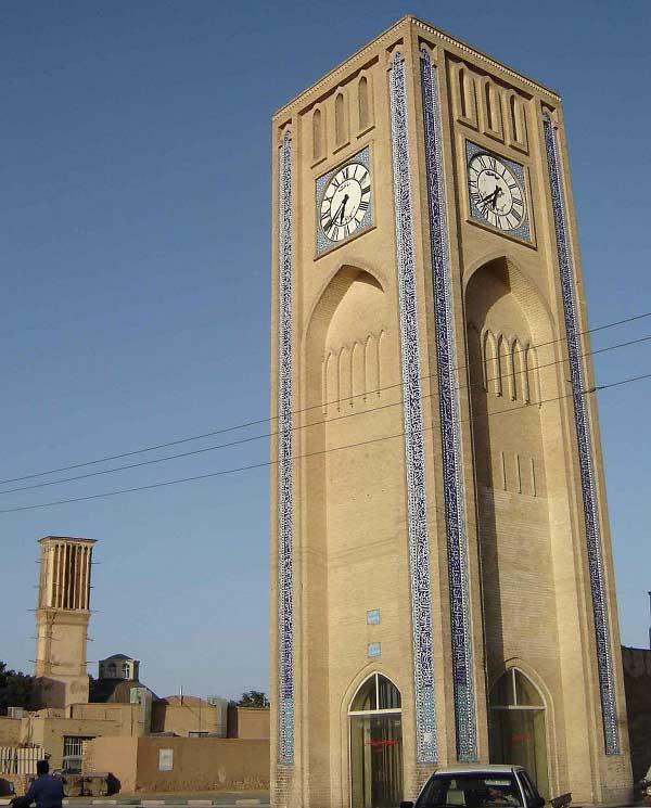 عکس برج ساعت یزد,معماری برج ساعت یزد,میدان ساعت